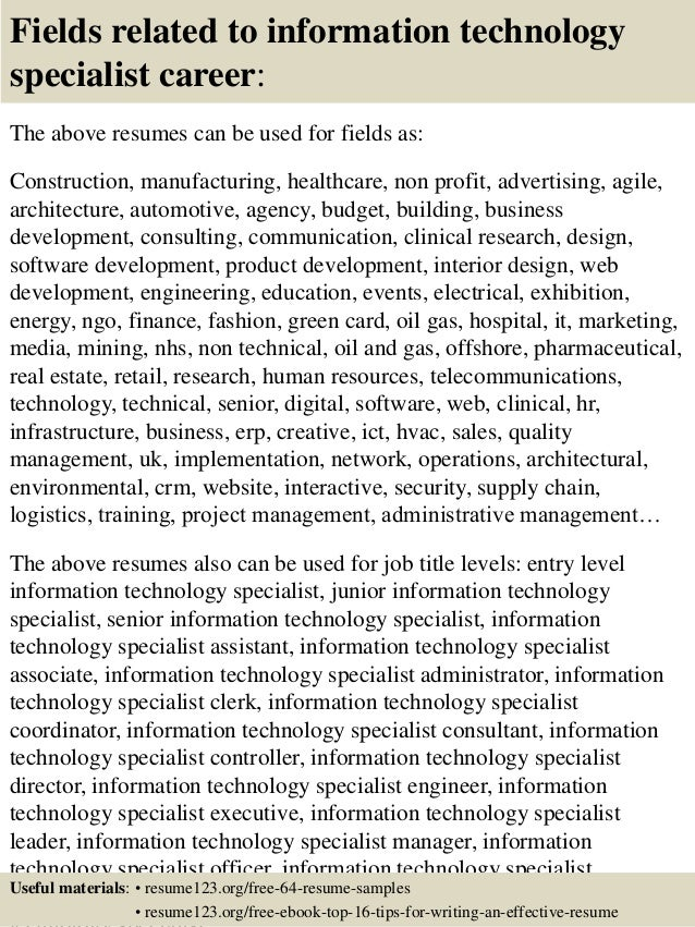 Top 8 information technology specialist resume samples