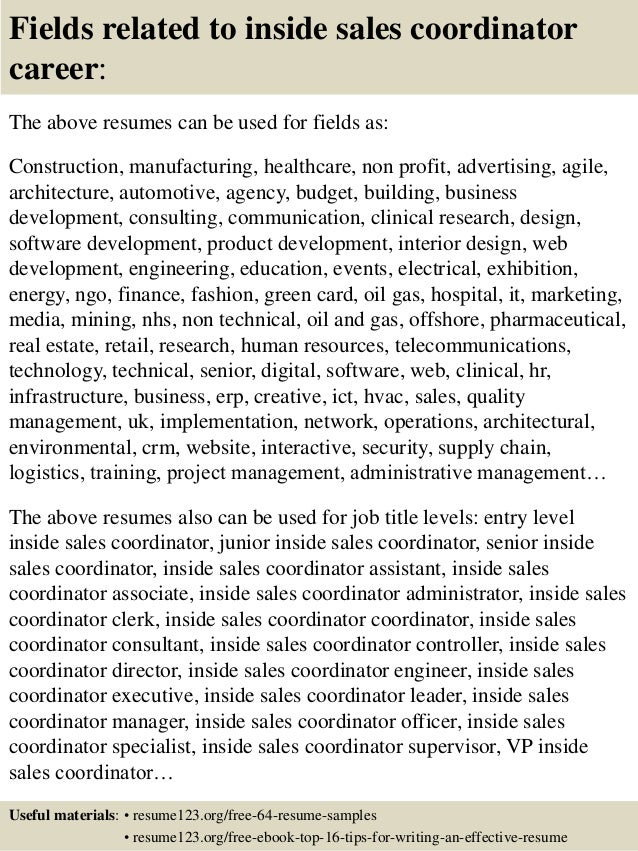 top inside sales coordinator resume samples fields related to inside s