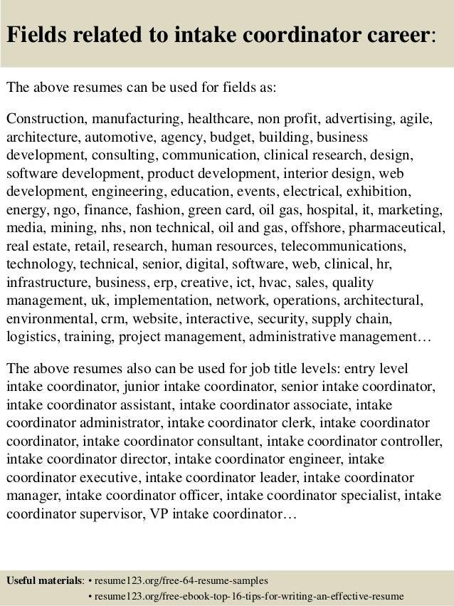 Top 8 Intake Coordinator Resume Samples
