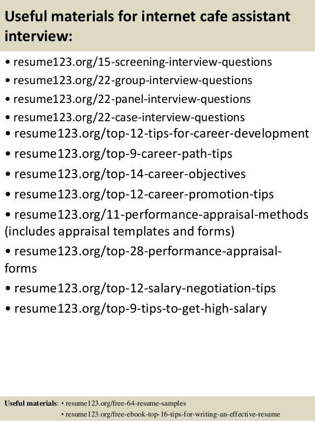 top  internet cafe assistant resume samples