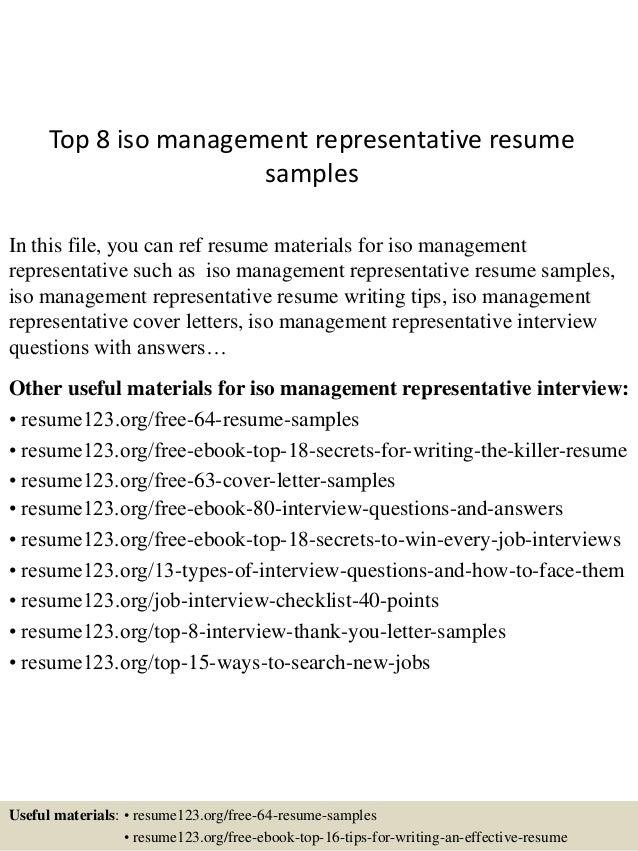 top 8 iso management representative resume samples