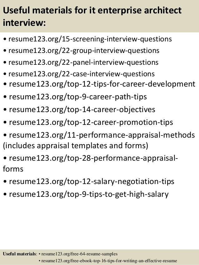 Top 8 it enterprise architect resume samples