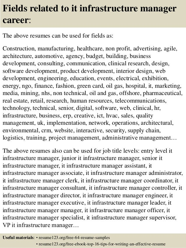 top 8 it infrastructure manager resume sles