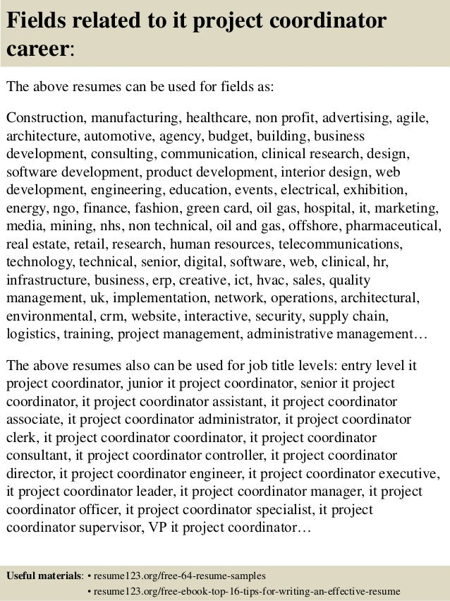 fields related to it project coordinator career the above resumes
