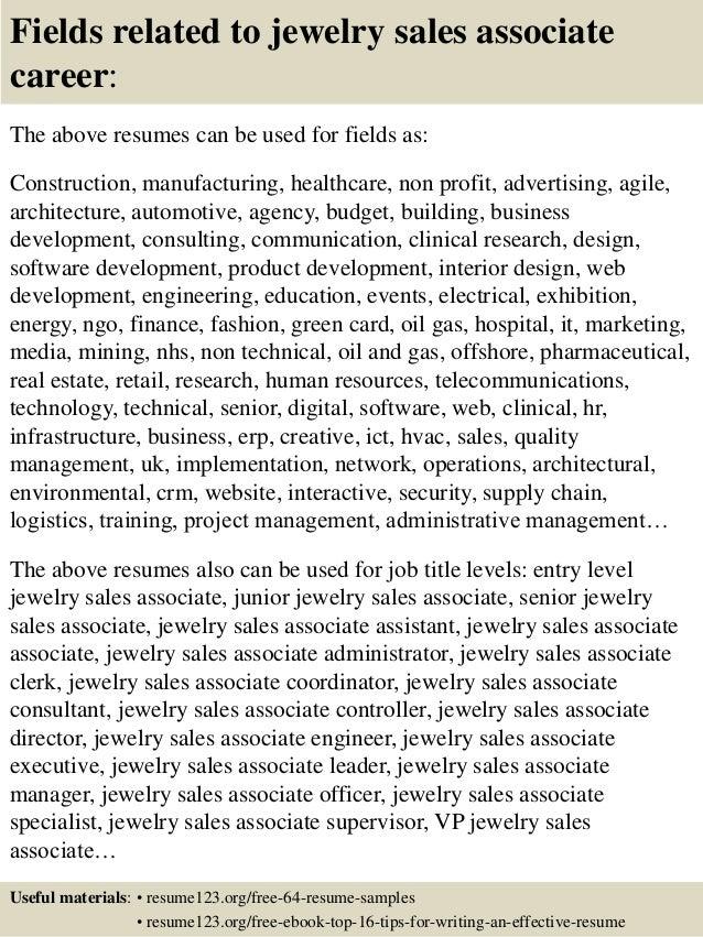 Top 8 jewelry sales associate resume samples