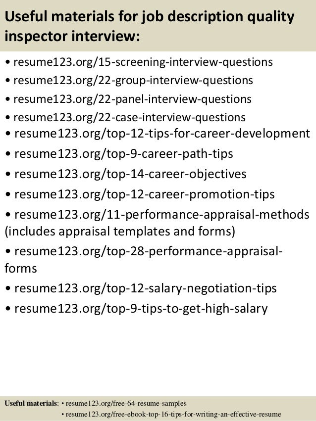 top  job description quality inspector resume samples       useful materials for job description quality inspector