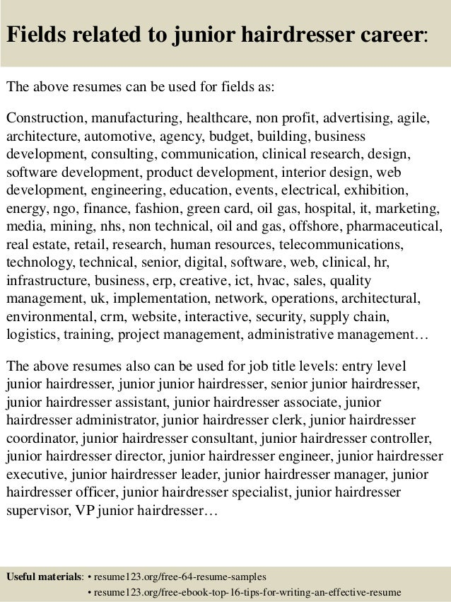 resumes for hairstylists