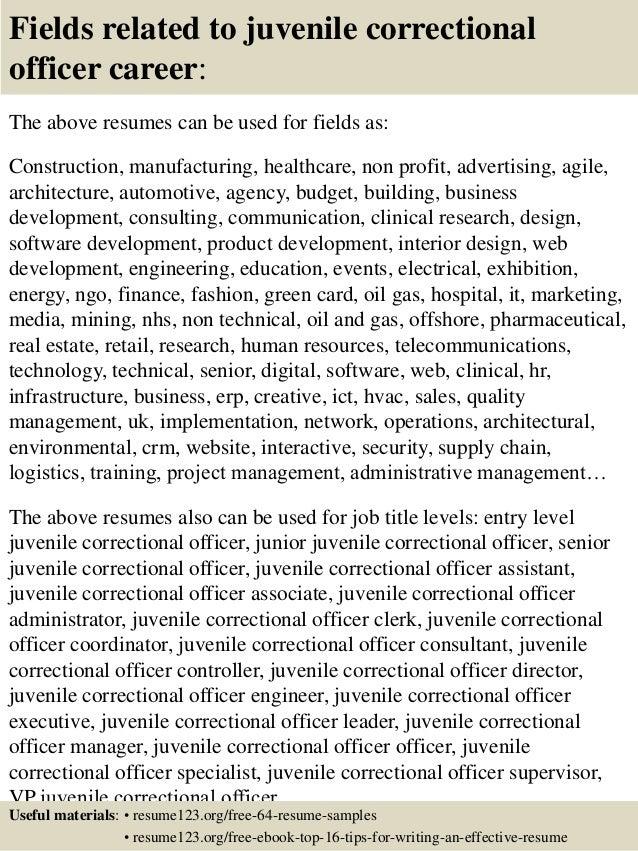 top  juvenile correctional officer resume samples       fields related to juvenile correctional officer