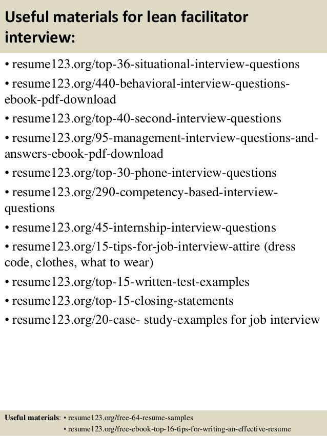 Top 8 lean facilitator resume samples