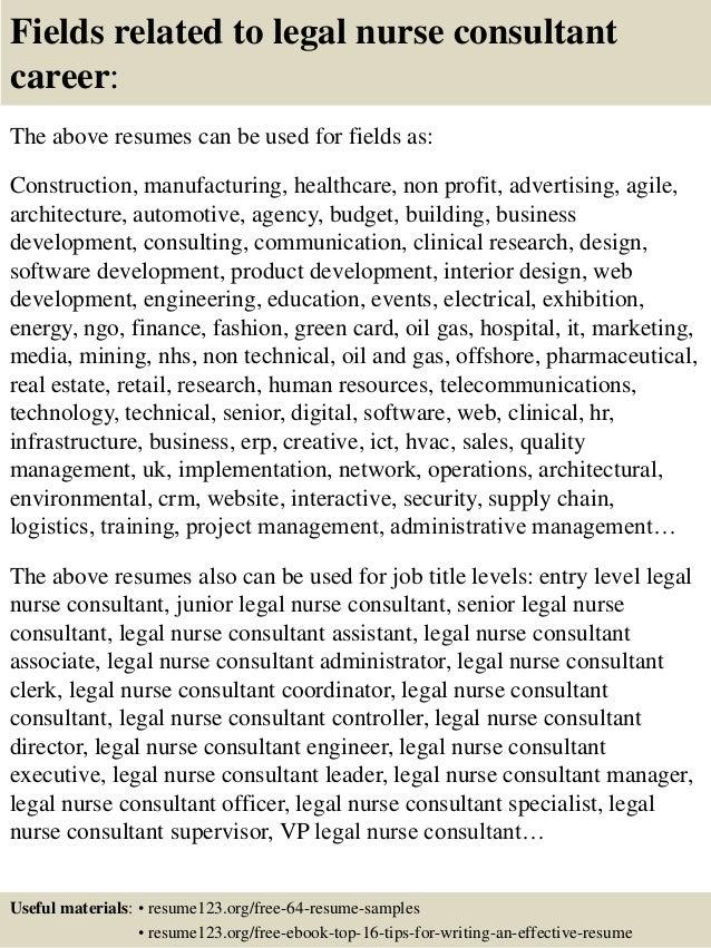 top 8 legal nurse consultant resume samples