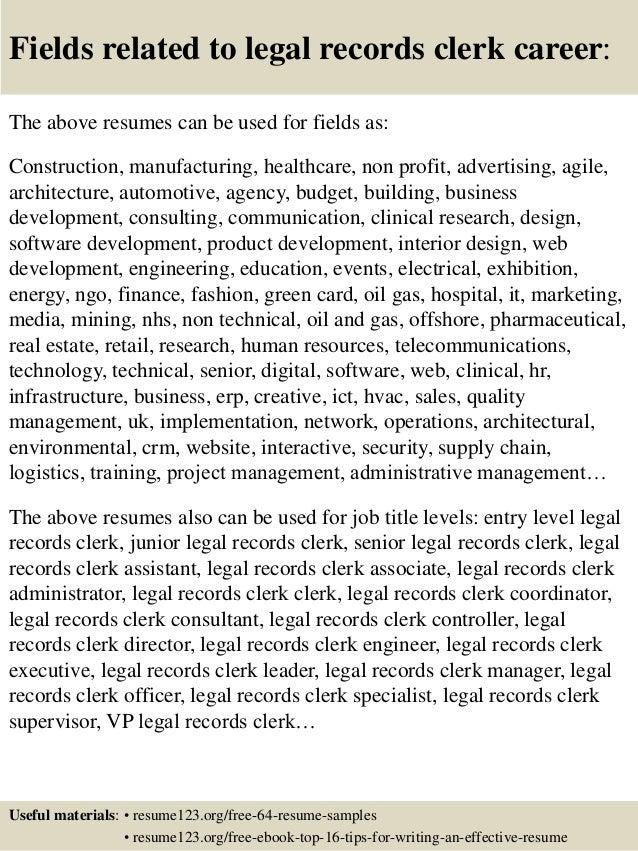 Legal records clerk resume sample