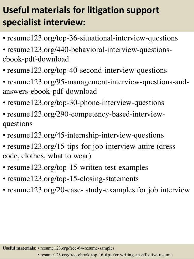 top  litigation support specialist resume samples