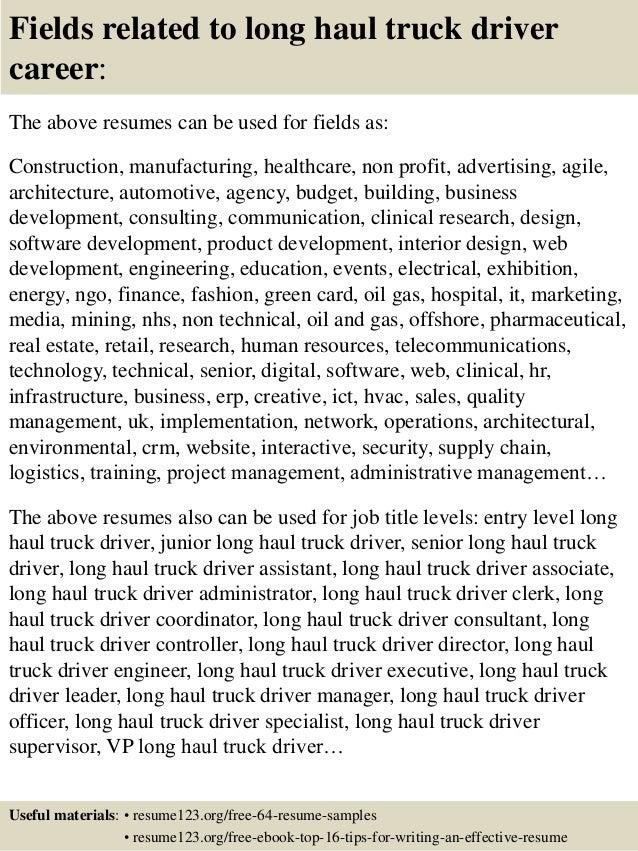 top 8 haul truck driver resume sles