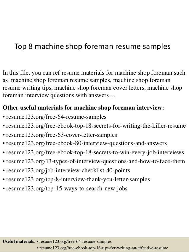top 8 machine shop foreman resume sles
