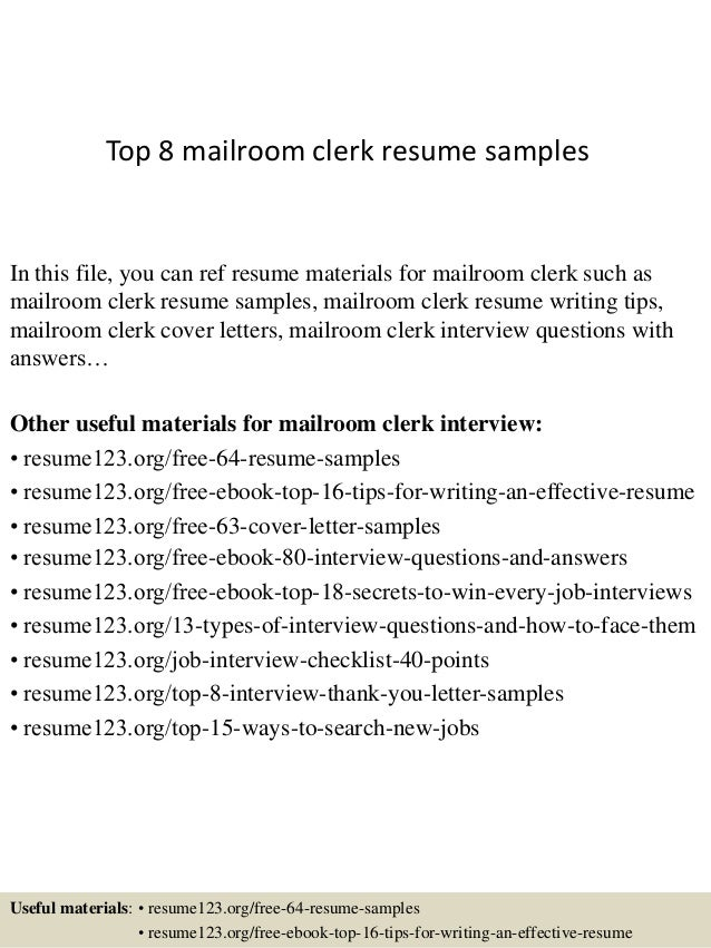 Top 8 mailroom clerk resume samples