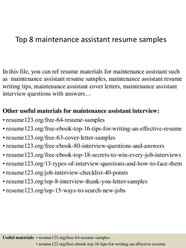 top 8 maintenance assistant resume sles
