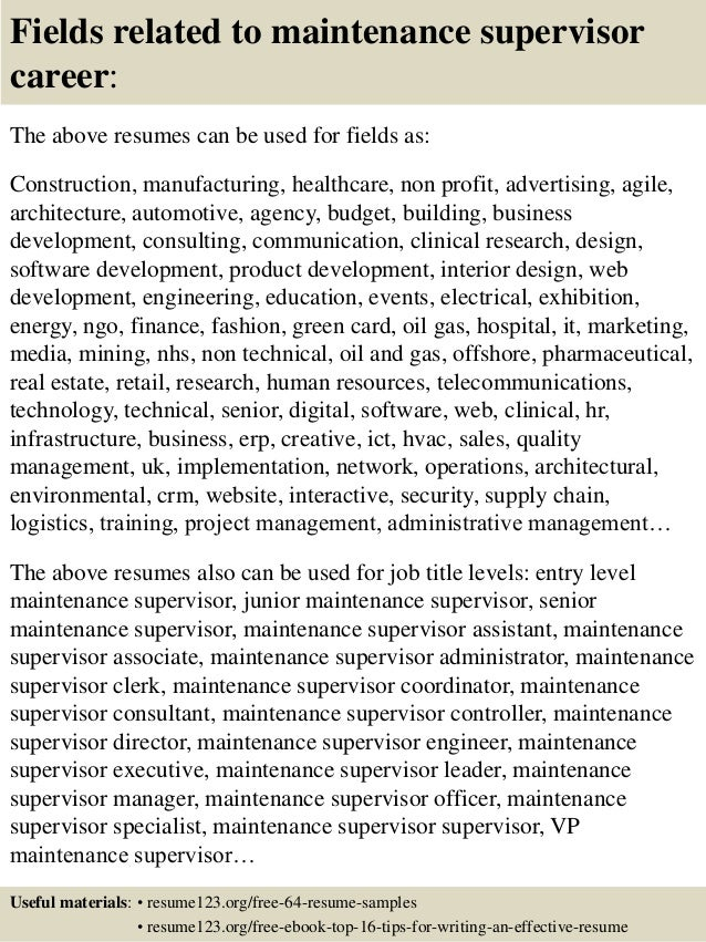 Maintenance Supervisor Cv Resume  Maintenance Supervisor Resume