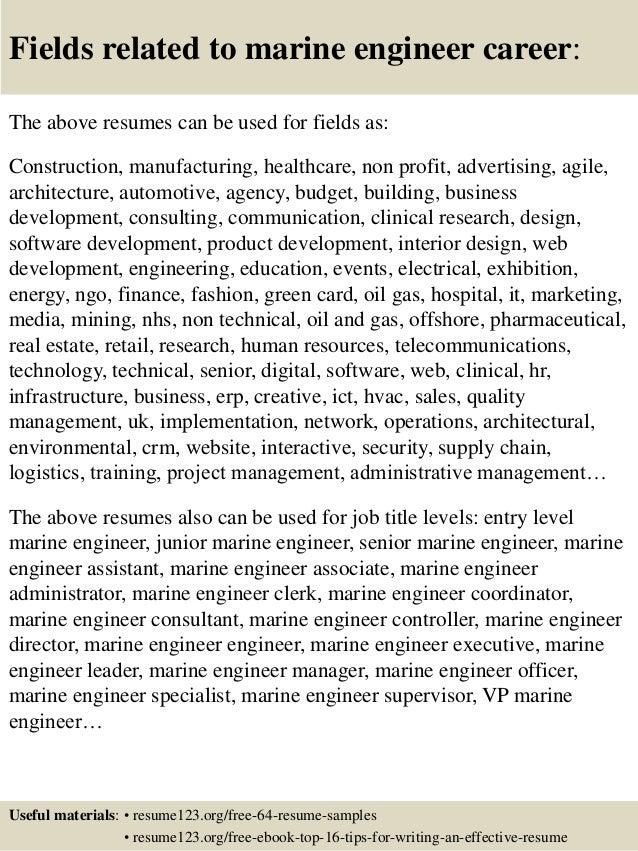 Top 8 marine engineer resume samples