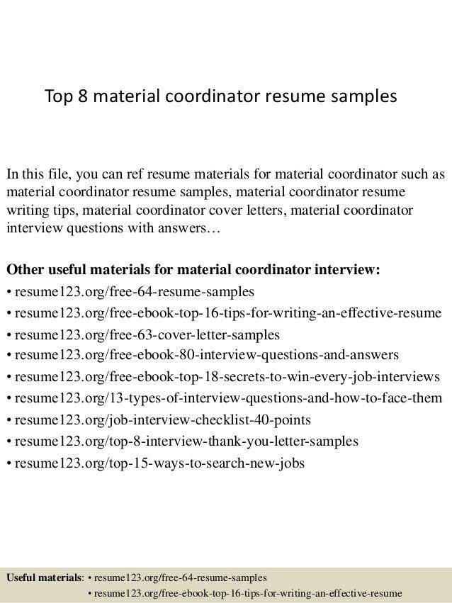 Top 8 Material Coordinator Resume Samples