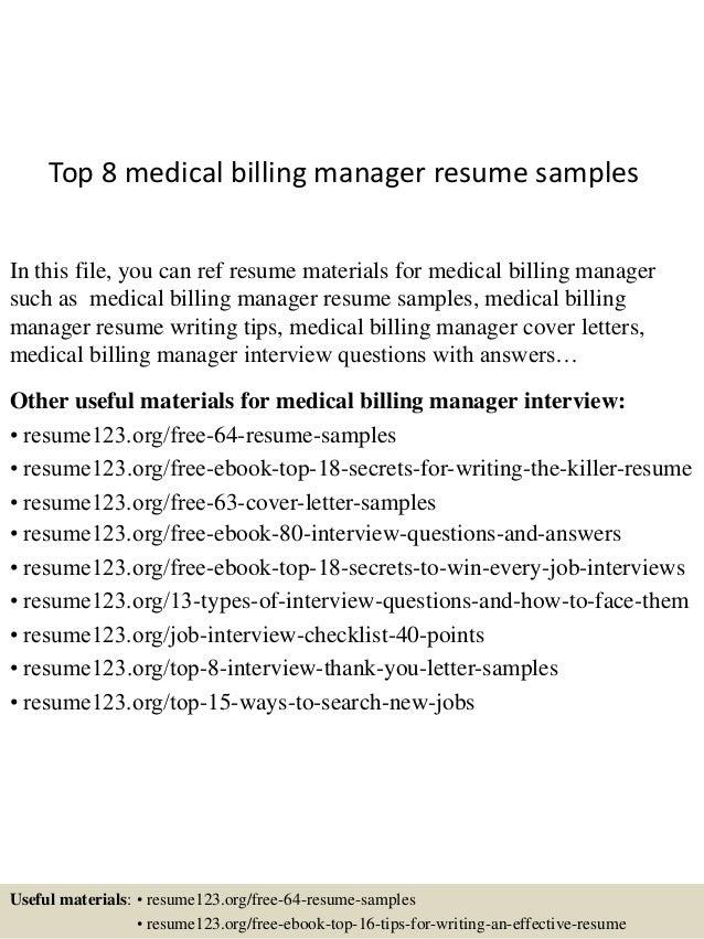 top 8 medical billing manager resume samples