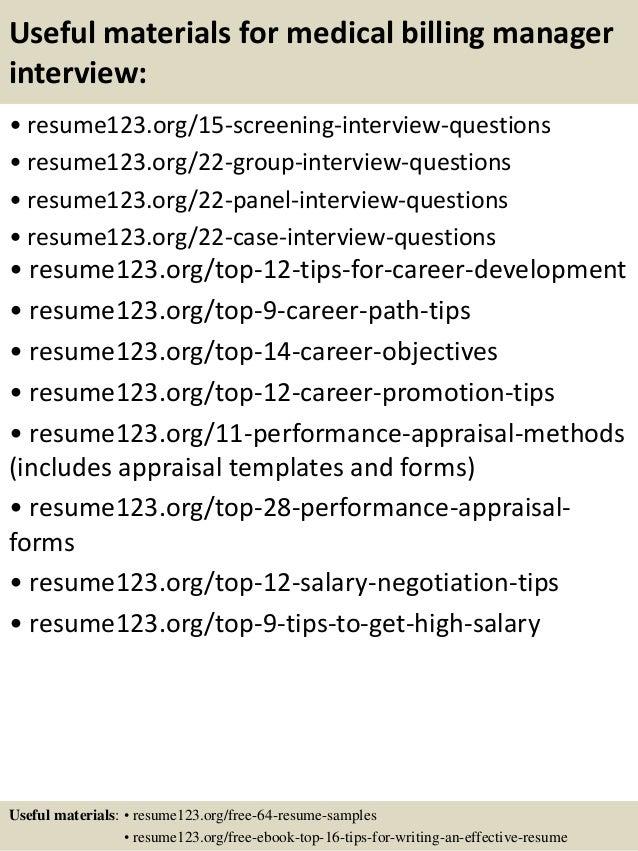 Sample billing manager resume