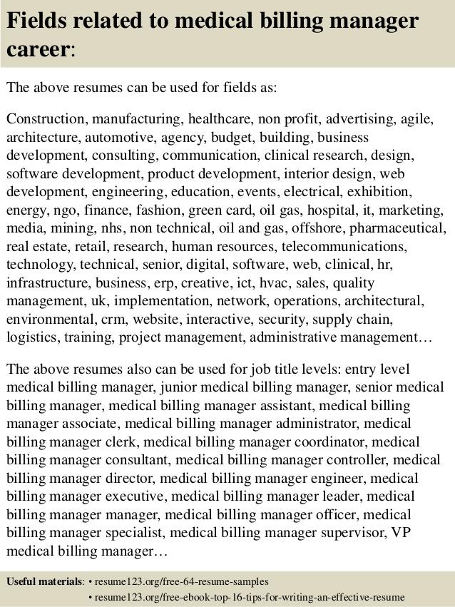 top 8 billing manager resume sles