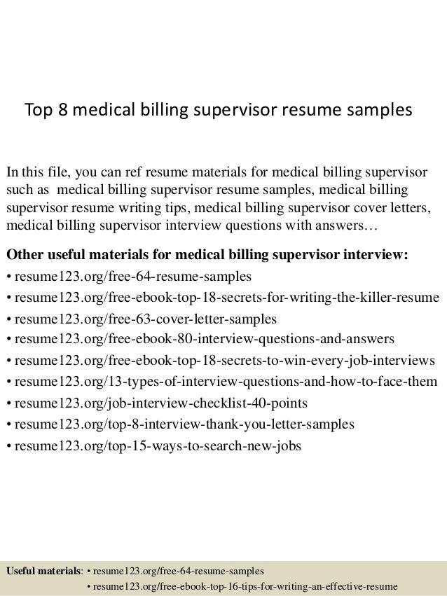 top 8 billing supervisor resume sles