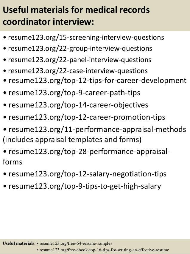 Top 8 medical records coordinator resume samples