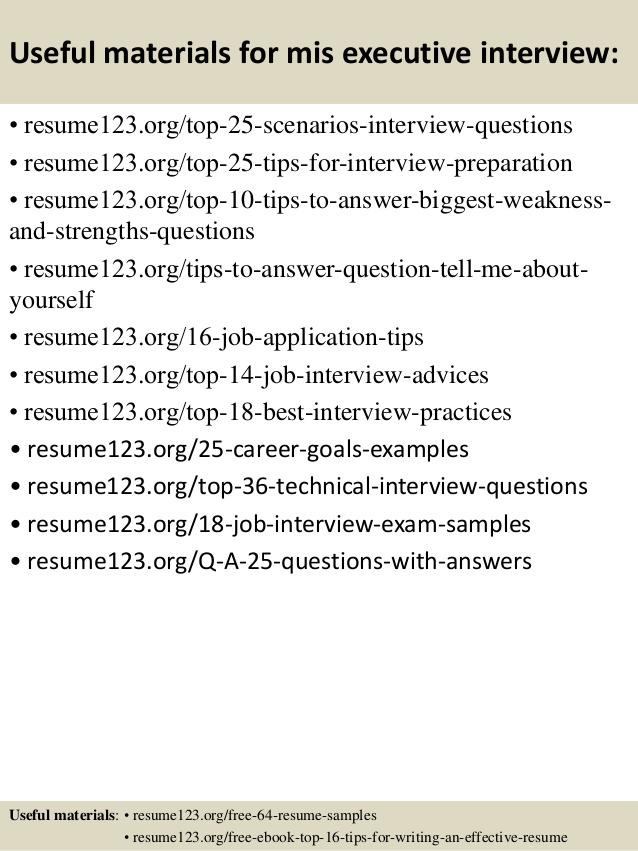 Best Resume Format Mis Executive