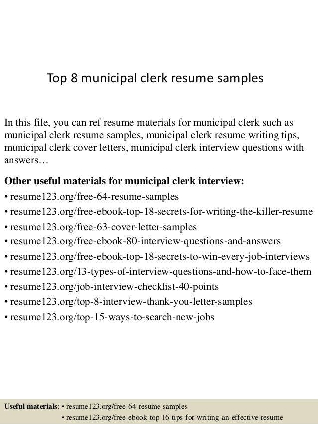 top 8 municipal clerk resume samples
