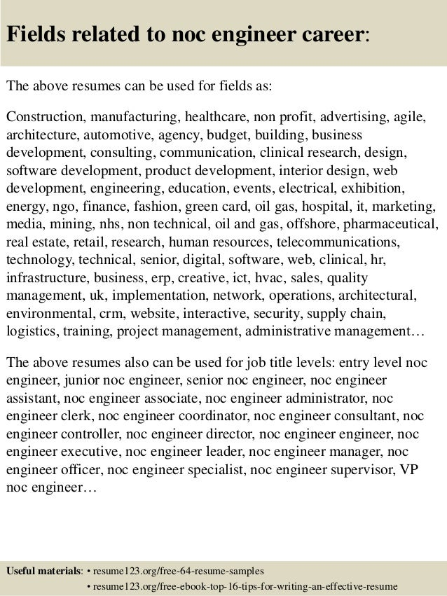 top 8 noc engineer resume sles