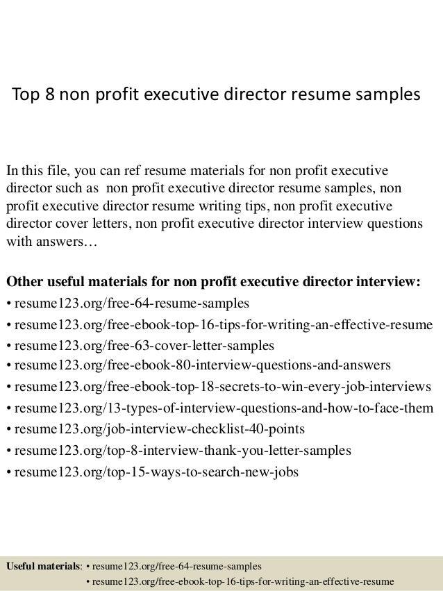 Top 8 non profit executive director resume samples