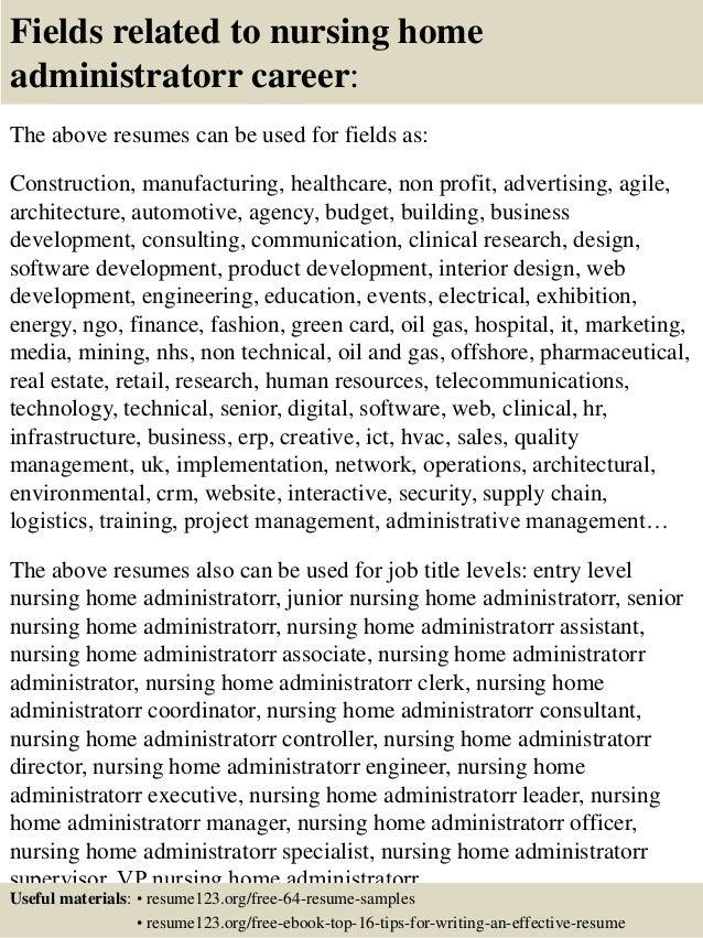 top 8 nursing home administratorr resume samples
