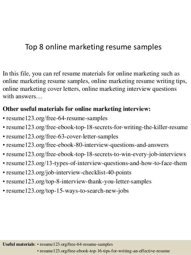 top 8 marketing resume sles