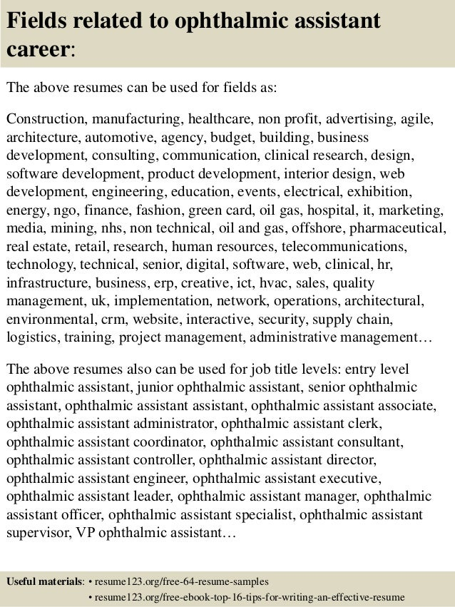 Resume Sample For Optometric Assistant Ophthalmologist