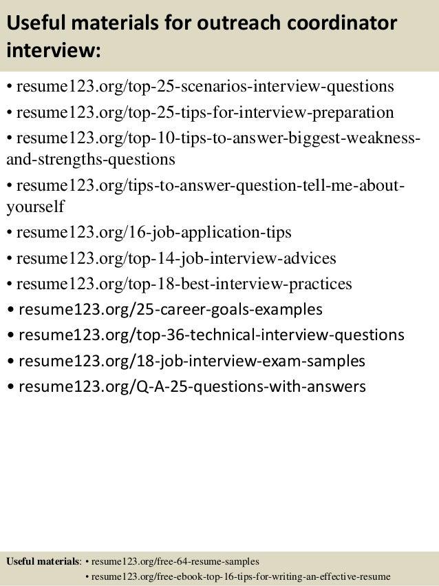top  outreach coordinator resume samples       useful materials for outreach coordinator
