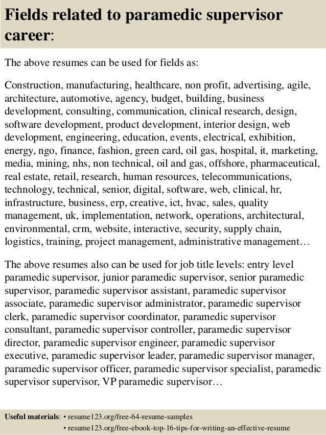 top  paramedic supervisor resume samples