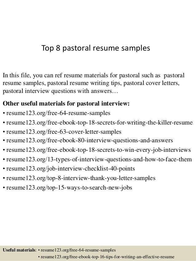 Top 8 pastoral resume samples