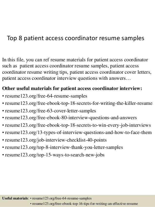 Top 8 Patient Access Coordinator Resume Samples 1 638%3Fcb%3D1431830398