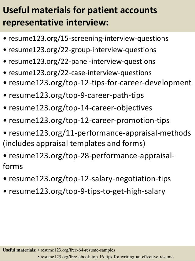 Top 8 patient accounts representative resume samples