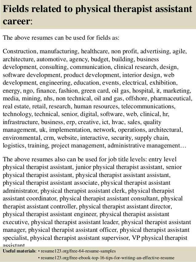 Sample resume physical therapy assistant