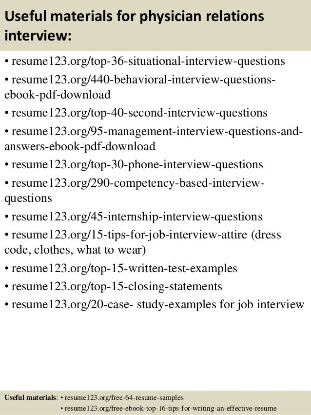 Physician Relations Resume ... 12. Useful materials for physician relations ...