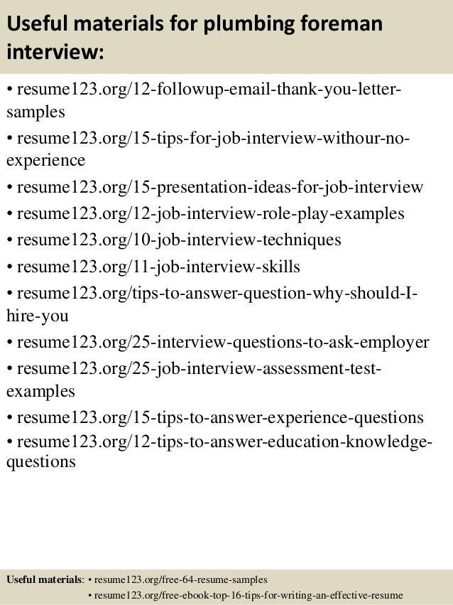 top  plumbing foreman resume samples