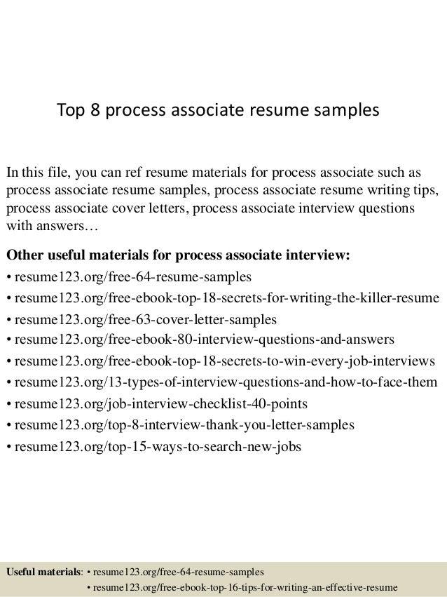 Top 8 process associate resume samples