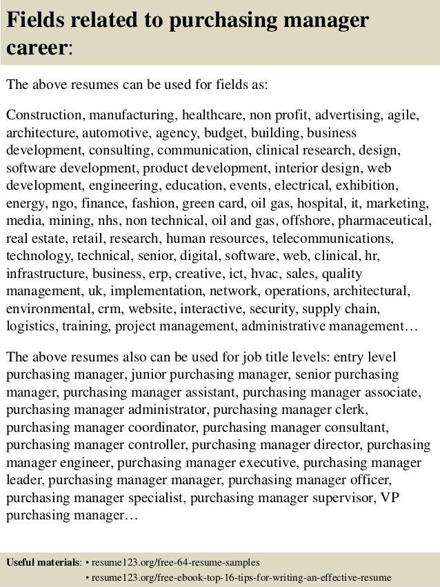 top  purchasing manager resume samples       fields related to purchasing manager