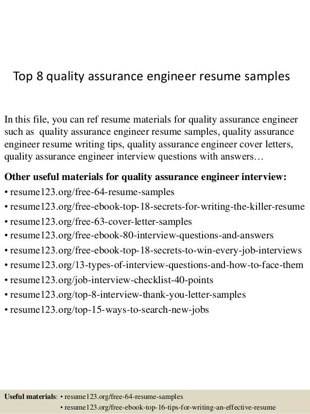 Quality Engineer Sample Resume 25.04.2017