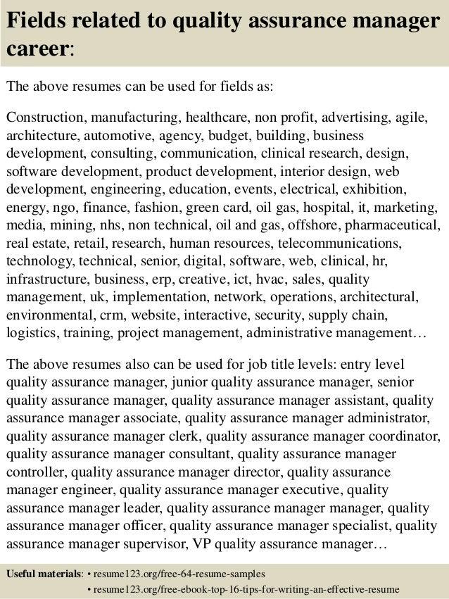 Quality Manager Resume Samples,Sample QA Analyst Resume Sample ...