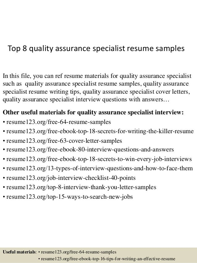 Top 8 quality assurance specialist resume samples