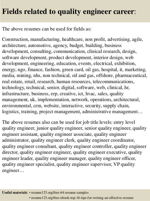 Sample Resume For A Midlevel Quality Engineer Monster Com. wong ...
