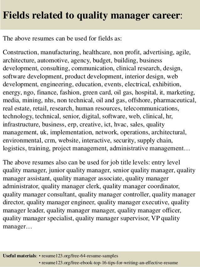 fields related to quality manager career the above resumes can